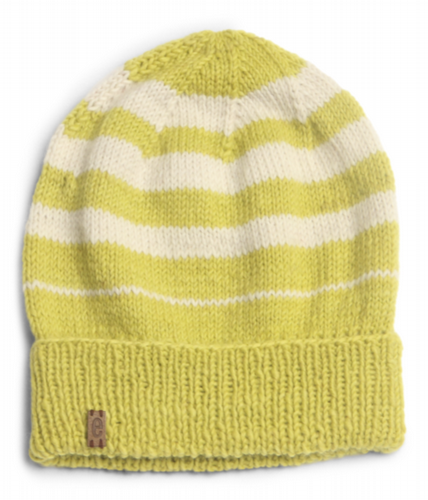 Wool Beanie Hat Striped - Lime Green